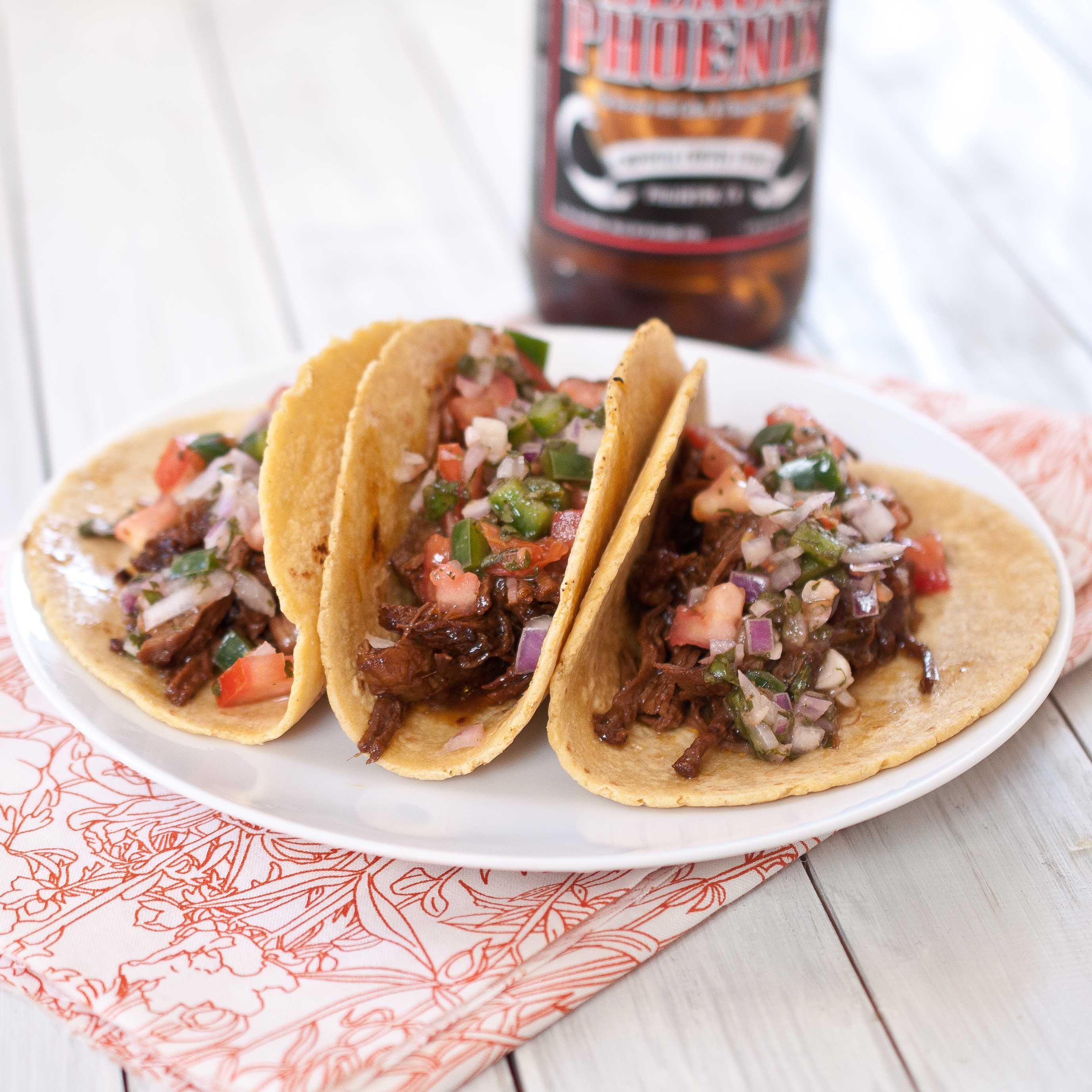 Chipotle Stout Braised Beef Tacos with Fresh Pico De Gallo
