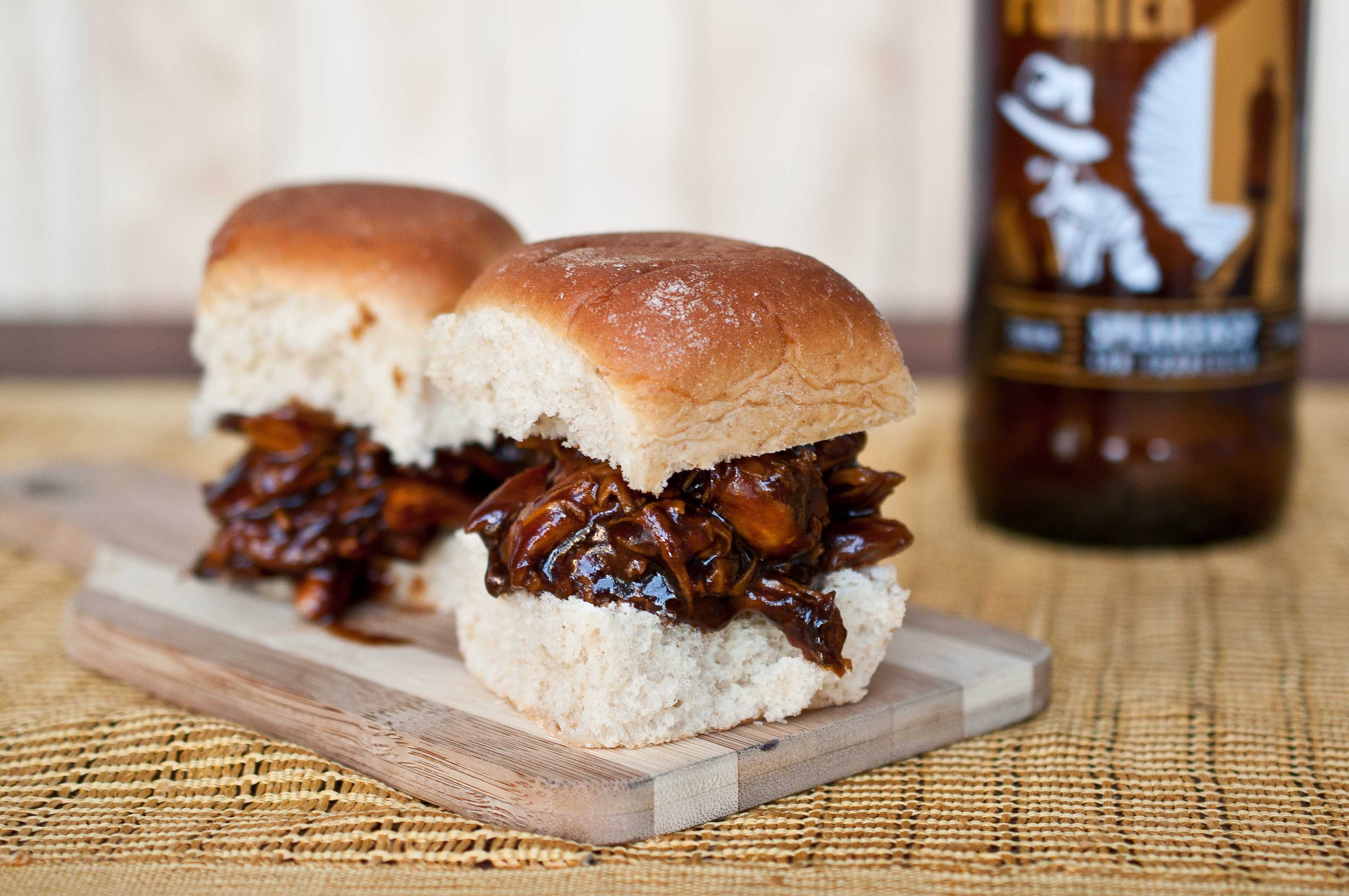 Beer Braised Chicken Sliders With Hoisin Beer Barbecue Sauce - The ...